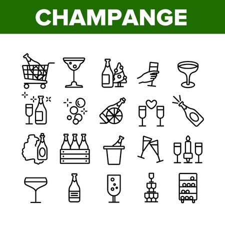 Champagne Beverage Collection Icons Set Vector Thin Line. Bottle Champagne In Bucket And Box, Glasses With Alcoholic Drink Concept Linear Pictograms. Monochrome Contour Illustrations 일러스트