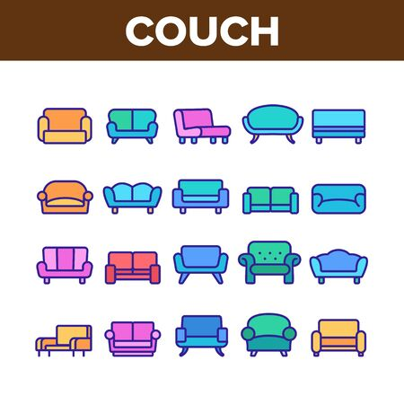 Couch Sofa Furniture Collection Icons Set Vector Thin Line. Vintage And Modern Comfortable Seat Couch For Living Room Or Office Concept Linear Pictograms. Color Contour Illustrations