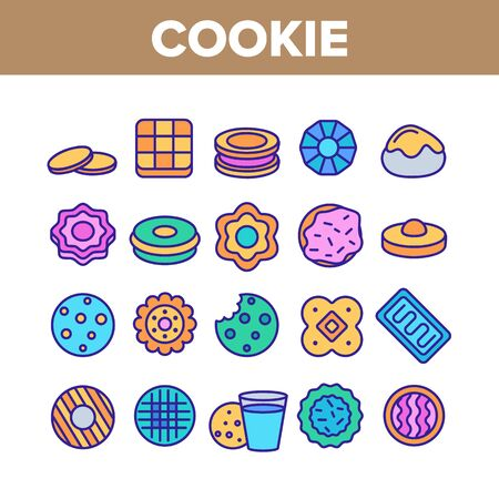 Cookie Baked Dessert Collection Icons Set Vector Thin Line. Bite Cookie And With Milk Glass, Biscuit With Cream And Waffle, Sweet Breakfast Concept Linear Pictograms. Color Contour Illustrations