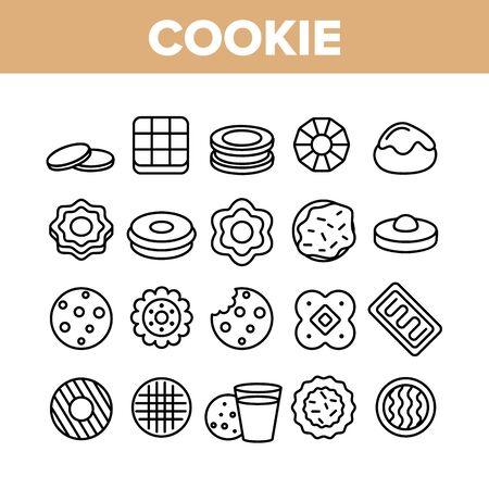 Cookie Baked Dessert Collection Icons Set Vector Thin Line. Bite Cookie And With Milk Glass, Biscuit With Cream And Waffle, Sweet Breakfast Concept Linear Pictograms. Monochrome Contour Illustrations