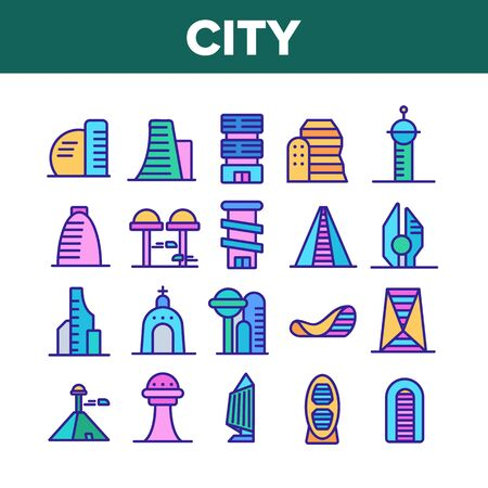 City Modern Building Collection Icons Set Vector Thin Line. Church And Tower, Skyscraper And Pyramid City Urban Constructions Concept Linear Pictograms. Color Contour Illustrations Illustration
