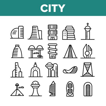City Modern Building Collection Icons Set Vector Thin Line. Church And Tower, Skyscraper And Pyramid City Urban Constructions Concept Linear Pictograms. Monochrome Contour Illustrations