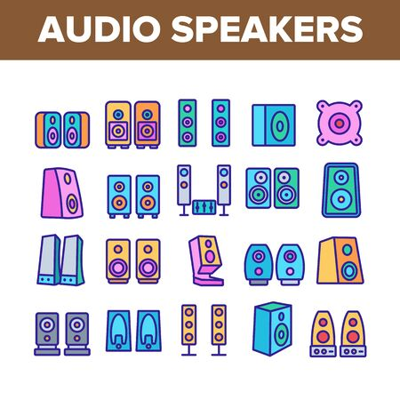 Audio Music Speakers Collection Icons Set Vector Thin Line. Electronic Acoustic Audio Sound Speakers System And Loudspeakers Concept Linear Pictograms. Color Contour Illustrations