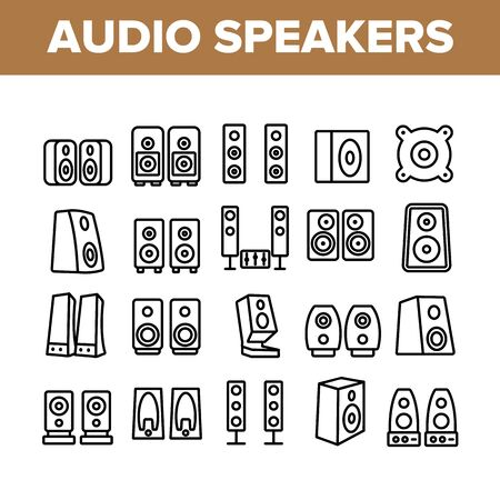 Audio Music Speakers Collection Icons Set Vector Thin Line. Electronic Acoustic Audio Sound Speakers System And Loudspeakers Concept Linear Pictograms. Monochrome Contour Illustrations 向量圖像