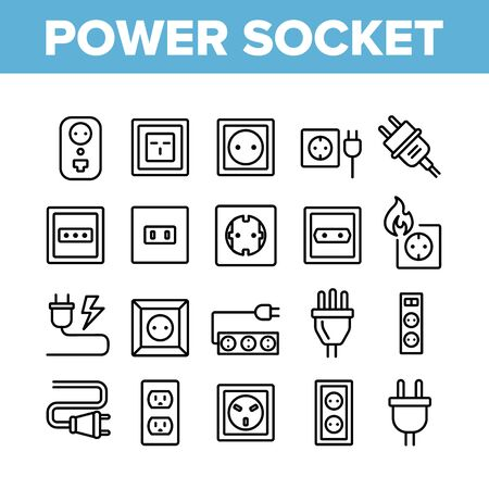 Electric Power Socket Collection Icons Set Vector Thin Line. Electrical Socket, Rosette And Cord Cable, Lightning And Flame Concept Linear Pictograms. Monochrome Contour Illustrations Illustration