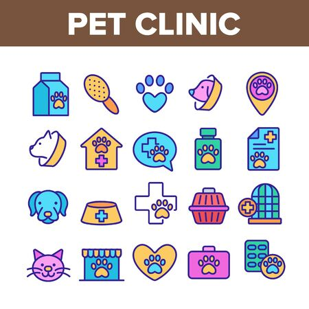Pet Clinic Veterinary Collection Icons Set Vector Thin Line. Dog Paw On Heart And Medical Cross, Birdcage And Cell, Clinic Equipment Concept Linear Pictograms. Color Contour Illustrations Illustration