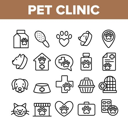 Pet Clinic Veterinary Collection Icons Set Vector Thin Line. Dog Paw On Heart And Medical Cross, Birdcage And Cell, Clinic Equipment Concept Linear Pictograms. Monochrome Contour Illustrations