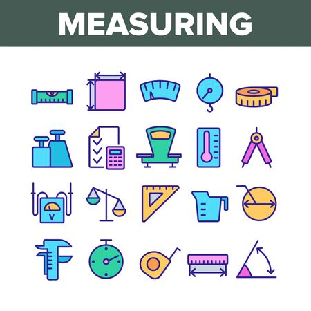 Measuring Equipment Collection Icons Set Vector Thin Line. Measuring Compass And Thermometer, Ruler And Scale, Tape Measure And Size Concept Linear Pictograms. Color Contour Illustrations