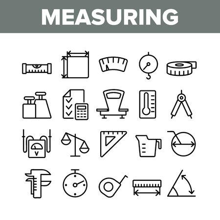 Measuring Equipment Collection Icons Set Vector Thin Line. Measuring Compass And Thermometer, Ruler And Scale, Tape Measure And Size Concept Linear Pictograms. Monochrome Contour Illustrations