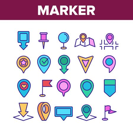 Marker Pointer Gps Map Collection Icons Set Vector Thin Line. Navigation, Direction, Location And Position Marker Pin And Flag Concept Linear Pictograms. Color Contour Illustrations