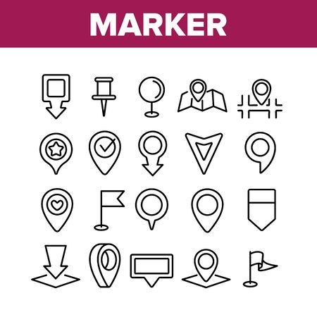 Marker Pointer Gps Map Collection Icons Set Vector Thin Line. Navigation, Direction, Location And Position Marker Pin And Flag Concept Linear Pictograms. Monochrome Contour Illustrations