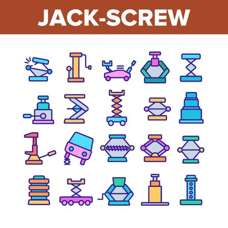 Jack-screw Equipment Collection Icons Set Vector Thin Line. Mechanical, Hydraulic And Air Car Jack-screw, Service Tool For Repair Wheel Concept Linear Pictograms. Color Contour Illustrations Illustration