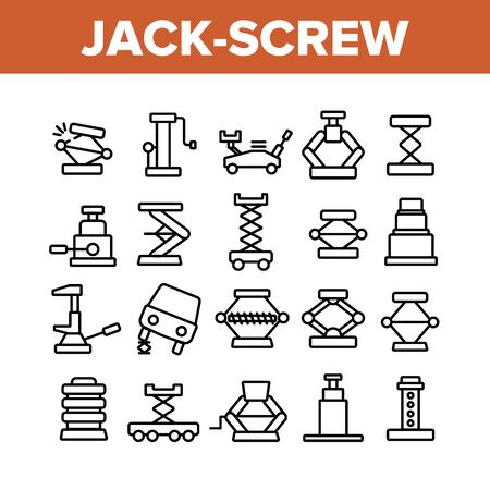 Jack-screw Equipment Collection Icons Set Vector Thin Line. Mechanical, Hydraulic And Air Car Jack-screw, Service Tool For Repair Wheel Concept Linear Pictograms. Monochrome Contour Illustrations Illustration