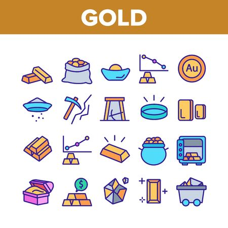 Gold Jewelry Metal Collection Icons Set Vector Thin Line. Safe With Golden Bars, Mining Gold, Bag And Vat With Coin, Mine Cart And Pick Concept Linear Pictograms. Color Contour Illustrations