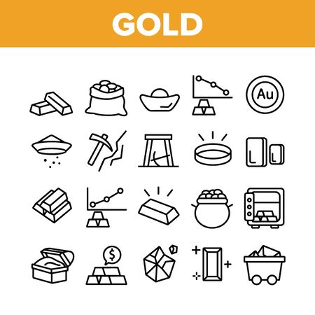 Gold Jewelry Metal Collection Icons Set Vector Thin Line. Safe With Golden Bars, Mining Gold, Bag And Vat With Coin, Mine Cart And Pick Concept Linear Pictograms. Monochrome Contour Illustrations