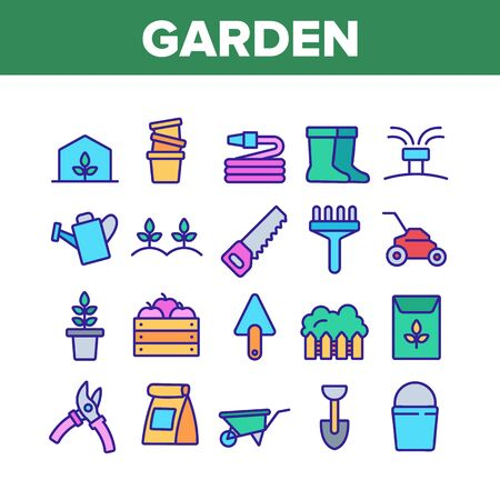 Garden Farming Tool Collection Icons Set Vector Thin Line. Boots And Saw, Fork And Shovel, Shears And Bucket, Garden Equipment Concept Linear Pictograms. Color Contour Illustrations Illustration