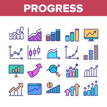 Progress Grow Graphs Collection Icons Set Vector Thin Line. Progress Arrow On Screen Web Site, Magnifier And Dollar Coin Concept Linear Pictograms. Color Illustrations