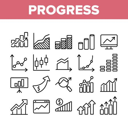 Progress Grow Graphs Collection Icons Set Vector Thin Line. Progress Arrow On Screen Web Site, Magnifier And Dollar Coin Concept Linear Pictograms. Monochrome Contour Illustrations