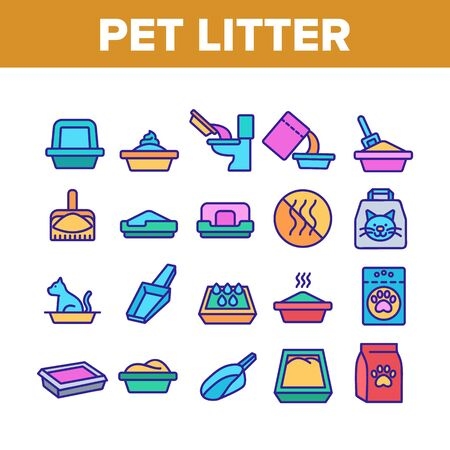 Pet Litter Accessory Collection Icons Set Vector Thin Line. Cat In Pet Litter, Animal Footprint On Bag With Granules, Scoop Concept Linear Pictograms. Color Illustrations