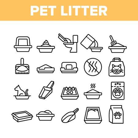 Haustierstreu Zubehör Sammlung Icons Set Vector Thin Line. Katze im Haustierstreu, Tierfußabdruck auf Tasche mit Granulat, Schaufelkonzept lineare Piktogramme. Einfarbige Kontur Illustrationen Vektorgrafik
