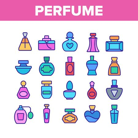 Perfume Containers Collection Icons Set Vector Thin Line. Glass Bottles With Aromatic Perfume In Different Beautiful Forms Concept Linear Pictograms. Color Illustrations