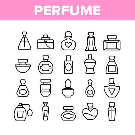 Perfume Containers Collection Icons Set Vector Thin Line. Glass Bottles With Aromatic Perfume In Different Beautiful Forms Concept Linear Pictograms. Monochrome Contour Illustrations Illustration