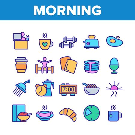 Morning Food And Tools Collection Icons Set Vector Thin Line. Morning Coffee Cup And Breakfast, Douche And Working Place, Sunrise And Clock Concept Linear Pictograms. Color Illustrations 일러스트