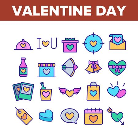 Valentine Day Romantic Collection Icons Set Vector Thin Line. Heart With Wings And On Calendar, Love Letter And Bottle Valentine Day Concept Linear Pictograms. Color Contour Illustrations Illustration