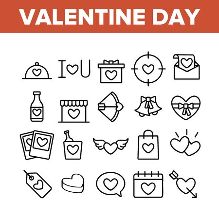 Valentine Day Romantic Collection Icons Set Vector Thin Line. Heart With Wings And On Calendar, Love Letter And Bottle Valentine Day Concept Linear Pictograms. Monochrome Contour Illustrations