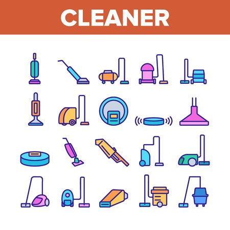 Vacuum Cleaner Device Collection Icons Set Vector Thin Line. Industrial And Household, Handheld And Robotic, Canister Cleaner Home Appliance Concept Linear Pictograms. Color Contour Illustrations
