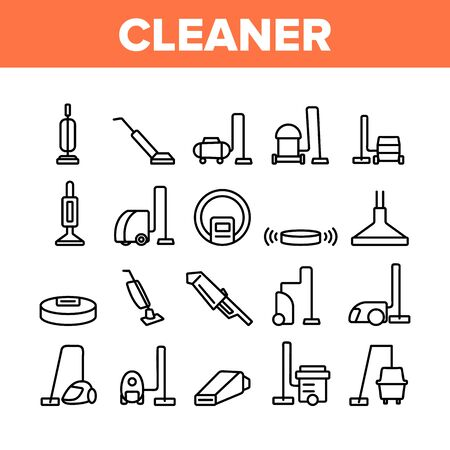 Vacuum Cleaner Device Collection Icons Set Vector Thin Line. Industrial And Household, Handheld And Robotic, Canister Cleaner Home Appliance Concept Linear Pictograms. Monochrome Contour Illustrations 일러스트
