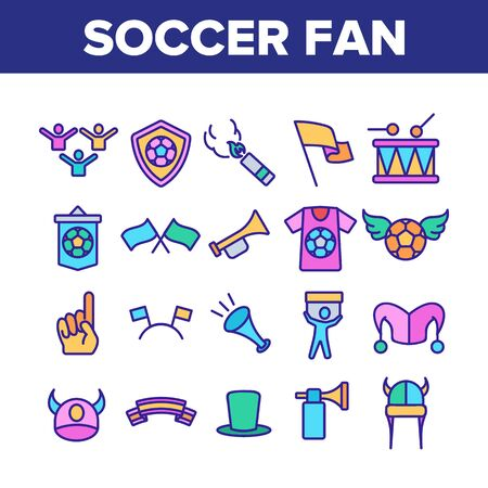 Soccer Fan Equipment Collection Icons Set Vector Thin Line. Soccer Ball With Wings And Shield, Flags And Ribbons, T-shirt And Drum Concept Linear Pictograms. Color Contour Illustrations