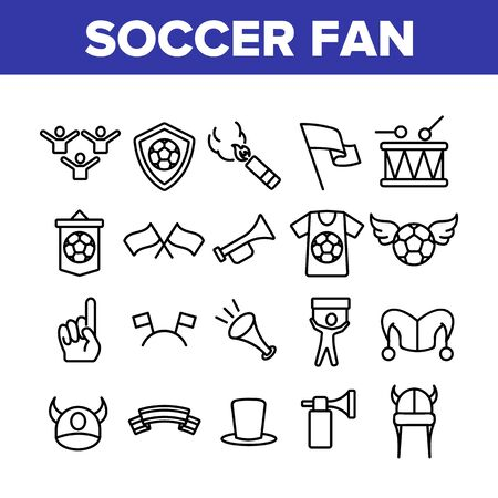 Soccer Fan Equipment Collection Icons Set Vector Thin Line. Soccer Ball With Wings And Shield, Flags And Ribbons, T-shirt And Drum Concept Linear Pictograms. Monochrome Contour Illustrations