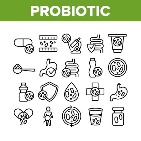 Probiotic Bacteria Collection Icons Set Vector Thin Line. Intestinal Flora And Intestinal, Healthy Yogurt And Intestine, Probiotic Concept Linear Pictograms. Monochrome Contour Illustrations Illustration