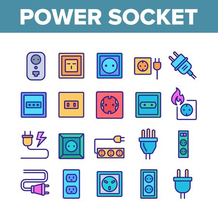 Electric Power Socket Collection Icons Set Vector Thin Line. Electrical Socket, Rosette And Cord Cable, Lightning And Flame Concept Linear Pictograms. Color Contour Illustrations Illustration