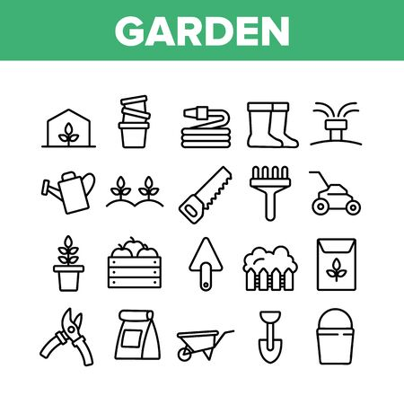 Garden Farming Tool Collection Icons Set Vector Thin Line. Boots And Saw, Fork And Shovel, Shears And Bucket, Garden Equipment Concept Linear Pictograms. Monochrome Contour Illustrations 일러스트