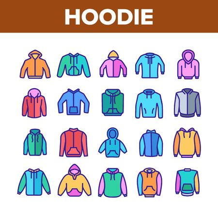 Hoodie And Sweater Collection Icons Set Vector Thin Line. Fashionable Stylish Hoodie With Hood, Warm Clothing With Long Sleeve Concept Linear Pictograms. Color Contour Illustrations Illustration