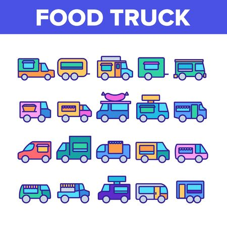 Food Truck Transport Collection Icons Set Vector Thin Line. Food Truck Vehicle With Sausage On Roof, Catering Trailer Street Cafe Concept Linear Pictograms. Color Contour Illustrations