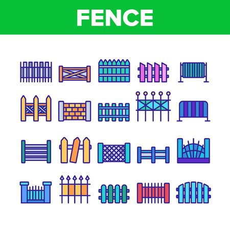 Fence Construction Collection Icons Set Vector Thin Line. Wooden And Metallic, Brick And Stone Fence Different Material And Design Concept Linear Pictograms. Color Contour Illustrations