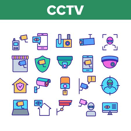 Cctv Security Camera Collection Icons Set Vector Thin Line. Cctv Video Surveillance, Robber, Computer And Mobile Phone Appliance Concept Linear Pictograms. Color Contour Illustrations Ilustrace