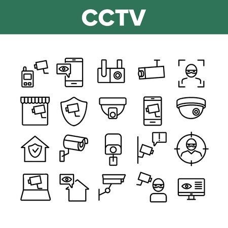 Cctv Security Camera Collection Icons Set Vector Thin Line. Cctv Video Surveillance, Robber, Computer And Mobile Phone Appliance Concept Linear Pictograms. Monochrome Contour Illustrations