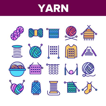 Yarn Ball For Knitting Collection Icons Set Vector Thin Line. Yarn In Bucket And Needles, Threads And Hooks, Sweater And Sock, Concept Linear Pictograms. Color Contour Illustrations 일러스트