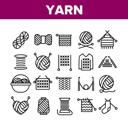 Yarn Ball For Knitting Collection Icons Set Vector Thin Line. Yarn In Bucket And Needles, Threads And Hooks, Sweater And Sock, Concept Linear Pictograms. Monochrome Contour Illustrations