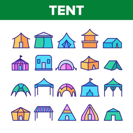 Tent Travel And Circus Collection Icons Set Vector Thin Line. Touristic Camp Tent And Festival Carnival, Marquee And Shelter Concept Linear Pictograms. Color Contour Illustrations Illustration