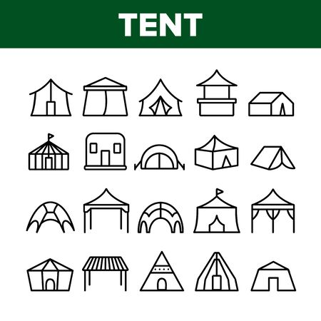 Tent Travel And Circus Collection Icons Set Vector Thin Line. Touristic Camp Tent And Festival Carnival, Marquee And Shelter Concept Linear Pictograms. Monochrome Contour Illustrations