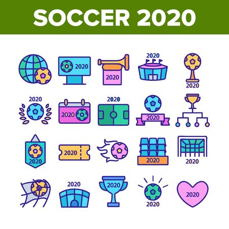 Soccer Champion 2020 Collection Icons Set Vector Thin Line. Football World Champion 2020 Goblet, Game Equipment Ball And Gate Concept Linear Pictograms. Color Contour Illustrations
