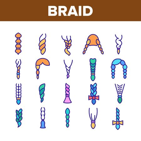 Braid Bread Hairstyles Collection Icons Set Vector Thin Line. Long Female Braid, Braided Hair Style With Bow-knot, Fashion Pigtail Concept Linear Pictograms. Color Contour Illustrations