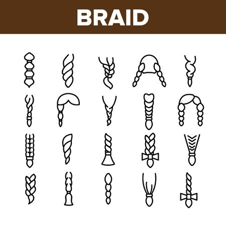 Braid Bread Hairstyles Collection Icons Set Vector Thin Line. Long Female Braid, Braided Hair Style With Bow-knot, Fashion Pigtail Concept Linear Pictograms. Monochrome Contour Illustrations Illustration