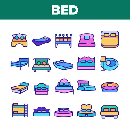 Bed Bedroom Furniture Collection Icons Set Vector Thin Line. Stylish Modern With Lamp, Vintage, In Heart Form And Bunk Bed Concept Linear Pictograms. Color Contour Illustrations
