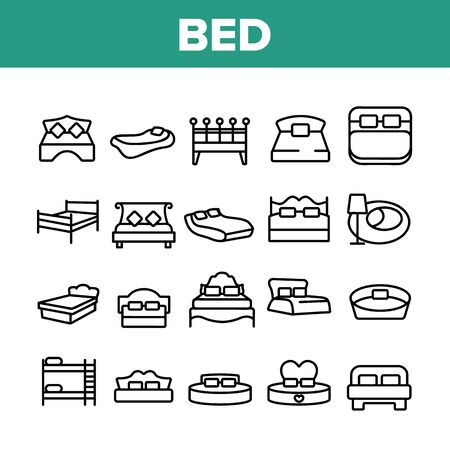 Bed Bedroom Furniture Collection Icons Set Vector Thin Line. Stylish Modern With Lamp, Vintage, In Heart Form And Bunk Bed Concept Linear Pictograms. Monochrome Contour Illustrations Illustration